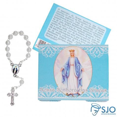 Cartão com Mini Terço de Nossa Senhora das Graças