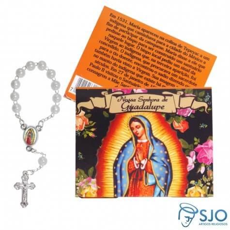 50 Cartões com Mini Terço de Nossa Senhora de Guadalupe