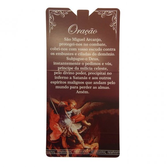 Cartão com Mini Terço São Miguel