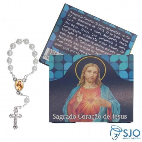 50 Cartões com Mini Terço do Sagrado Coração de Jesus