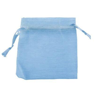 100 Saquinhos de Organza 8 x 12 - Azul