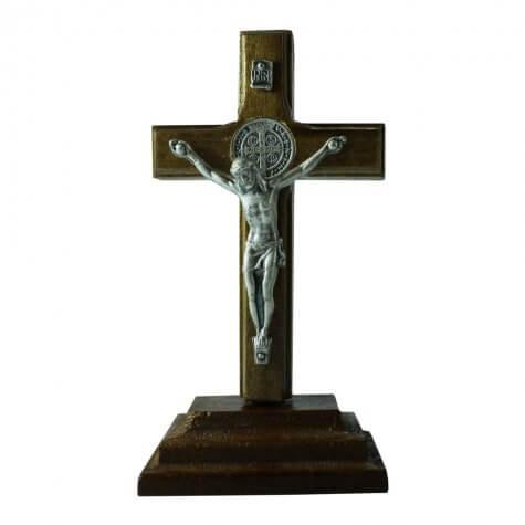 Crucifixo Madeira de Mesa São Bento - 9 cm