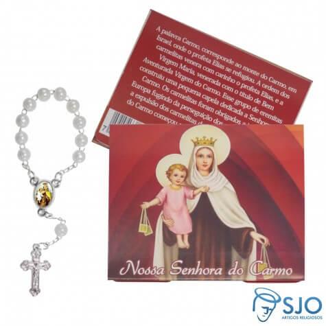 Cartão com Mini Terço de Nossa Senhora Carmo