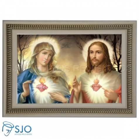Quadro Religioso Sagrado Coração de Maria e Jesus - 60 x 90 cm