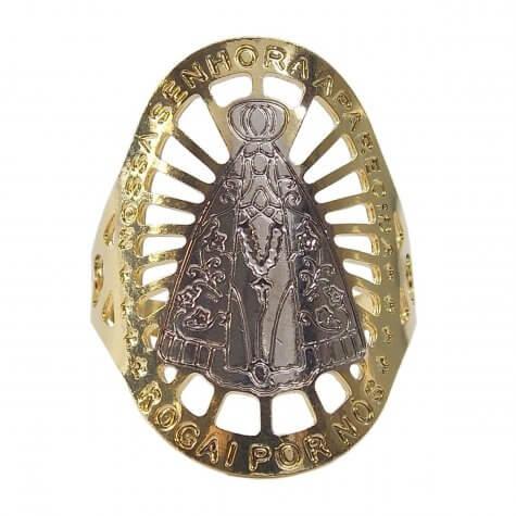 Anel de Nossa Senhora Aparecida com Ródio Folheado a Ouro