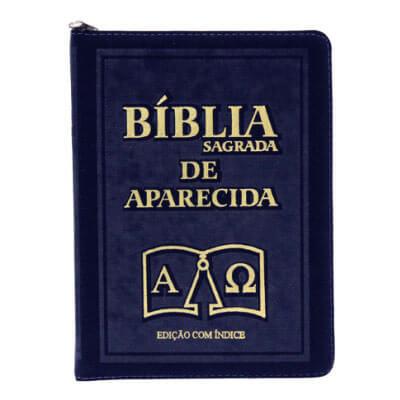 Bíblia Sagrada de Aparecida com Capa de Ziper Azul