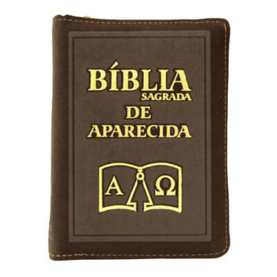 Bíblia Sagrada de Aparecida com Capa de Ziper Simples na cor Marrom