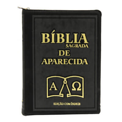 Bíblia Sagrada de Aparecida com Capa de Ziper Preta