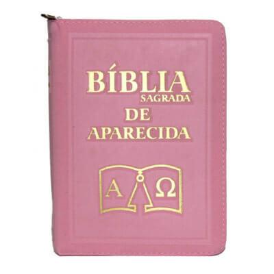 Bíblia Sagrada de Aparecida com Capa de Ziper Simples na cor Rosa
