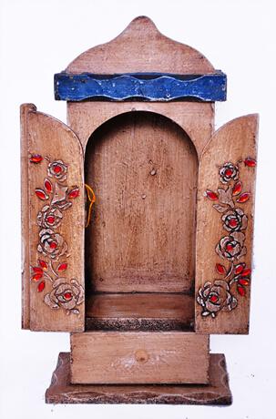 Capela de Madeira com gaveta, porta com dobradiça - 39 cm