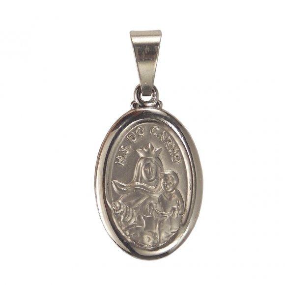 Medalha Oval de Inox de Nossa Senhora do Carmo