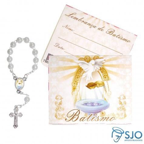 Cartão com Mini Terço de Batismo