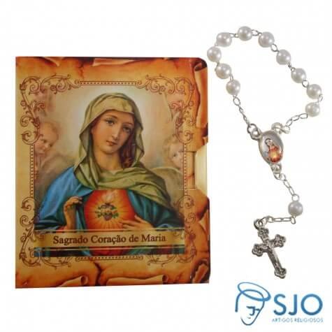 Cartão com Mini Terço - Sagrado Coração de Maria