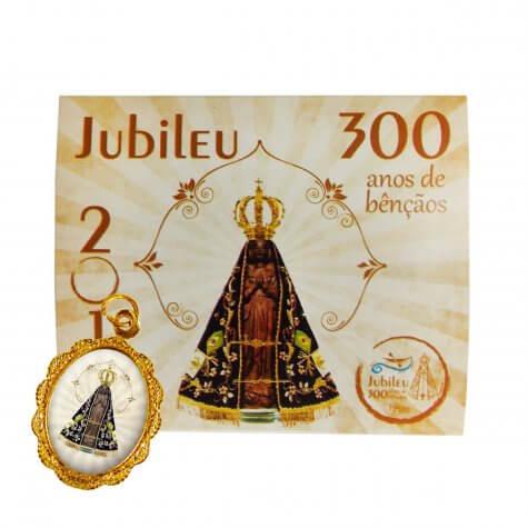 Cartão com Medalha - 300 Anos de Aparecida