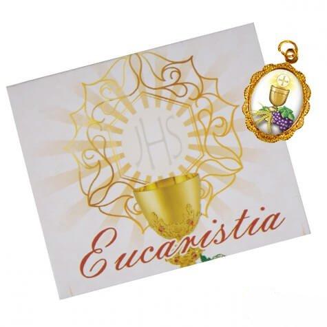 Cartão com Medalha de 1ª Eucaristia