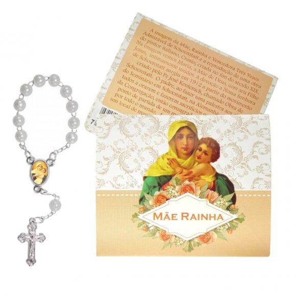 Cartão com Mini Terço Mãe Rainha