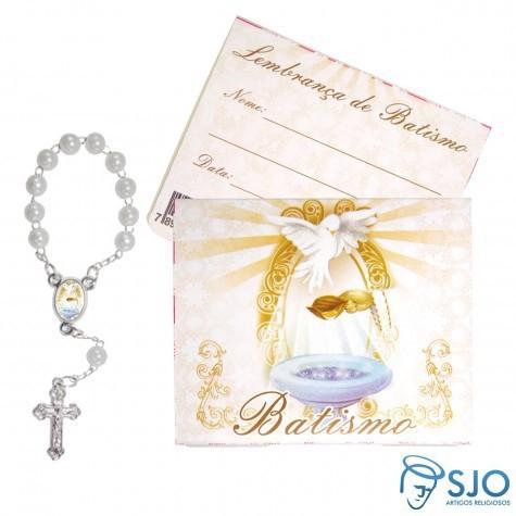 50 Cartões com Mini Terço de Batismo