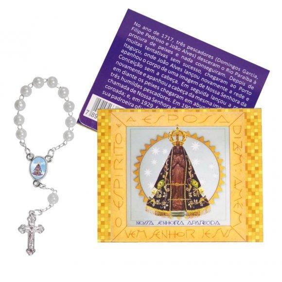 Cartão com Mini Terço de Nossa Senhora Aparecida
