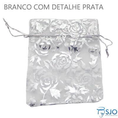 Saquinho de Organza 8 x 12 - Branco com Rosas Prata