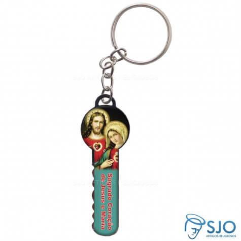 Chaveiro Chave Sagrado Coração de Jesus e Maria