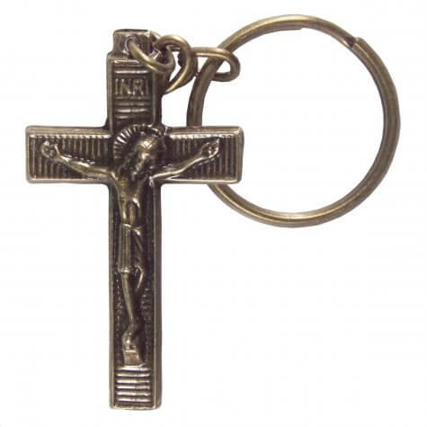 Chaveiro Crucifixo de Bronze