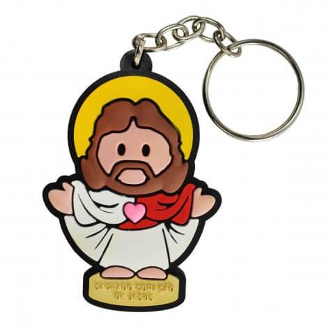 Chaveiro Emborrachado Sagrado Coração de Jesus