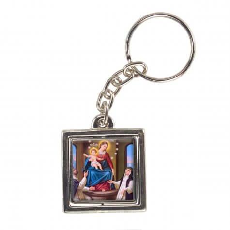 Chaveiro Quadrado Giratório de Nossa Senhora do Rosário - Modelo 1