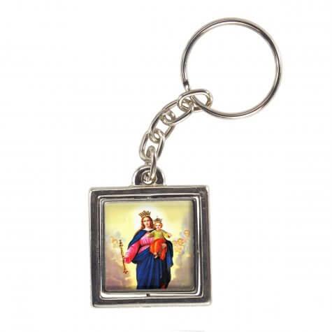 Chaveiro Quadrado Giratório de Nossa Senhora Auxiliadora