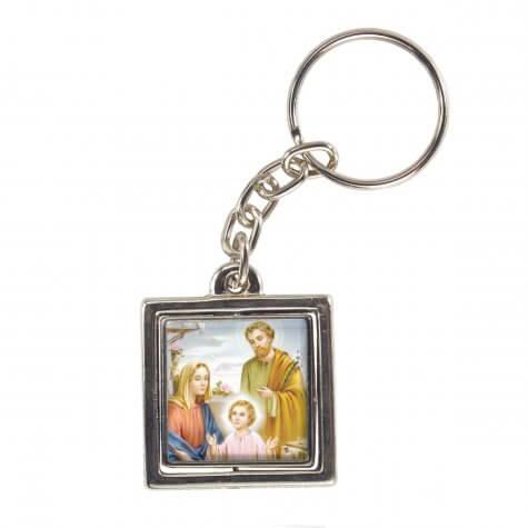 Chaveiro Quadrado Giratório Sagrada Família - Modelo 2