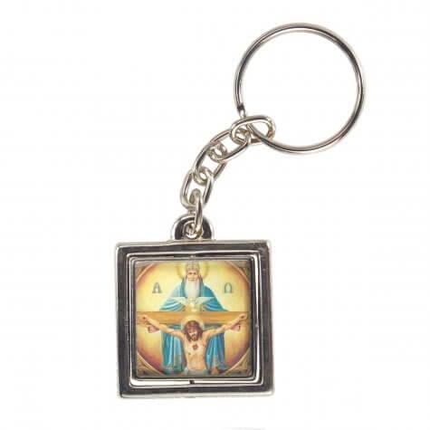 Chaveiro Quadrado Giratório da Santíssima Trindade