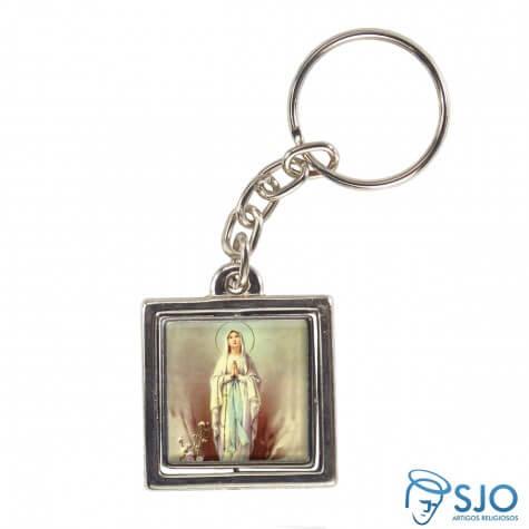 Chaveiro Quadrado Giratório de Nossa Senhora de Lourdes