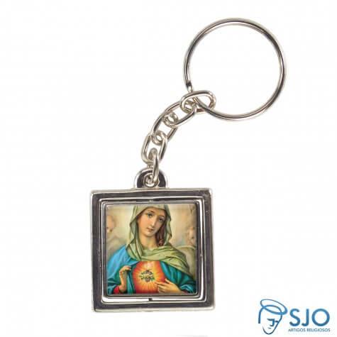 Chaveiro Quadrado Giratório da Sagrado Coração de Maria