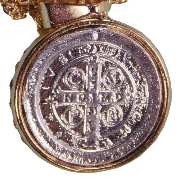 Colar Folheado a Ouro com Medalha de São Bento Prata