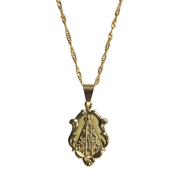 Colar Medalha de Nossa Senhora Aparecida Grande Folheado