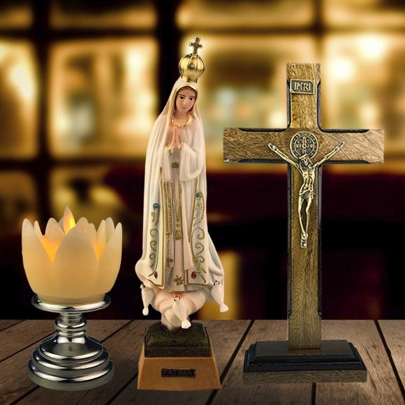 Combo Moderno Nossa Senhora de Fátima de olhos de vidro de 27 cm - Modelo 2