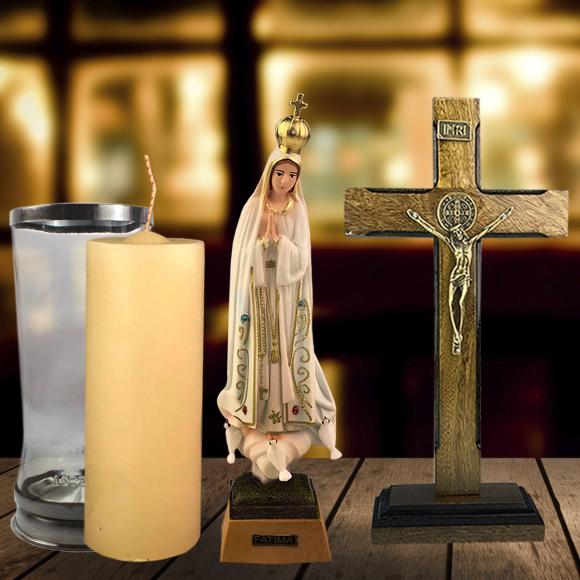 Combo Tradicional Nossa Senhora de Fátima importada de Portugal de 17 cm