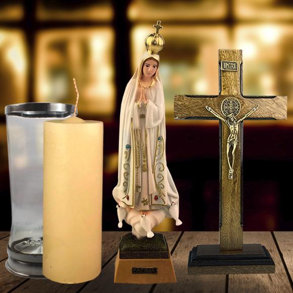 Combo Tradicional Nossa Senhora de Fátima de olhos de vidro de 27 cm