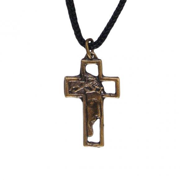 Cordão com Crucifixo de Bronze Face de Cristo - Mod. 2