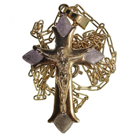 Colar Folheado a Ouro com Crucifixo