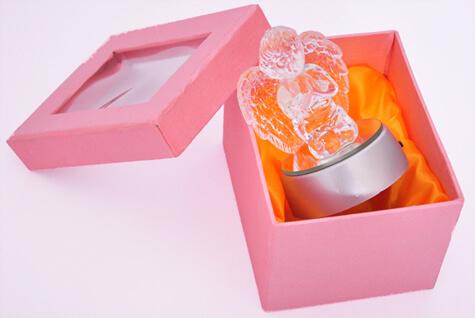 Anjo de Cristal com Luz - 9 cm