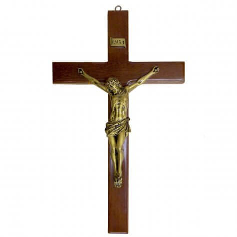 Crucifixo de Madeira com Bronze - 32 cm