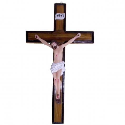 Crucifixo de Madeira com Cristo em Resina - 27 cm