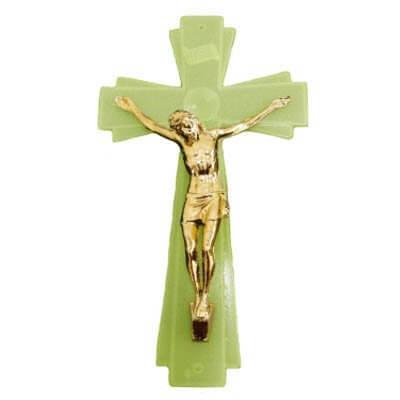 Crucifixo de Parede Luminoso com Cristo Dourado - 20 cm
