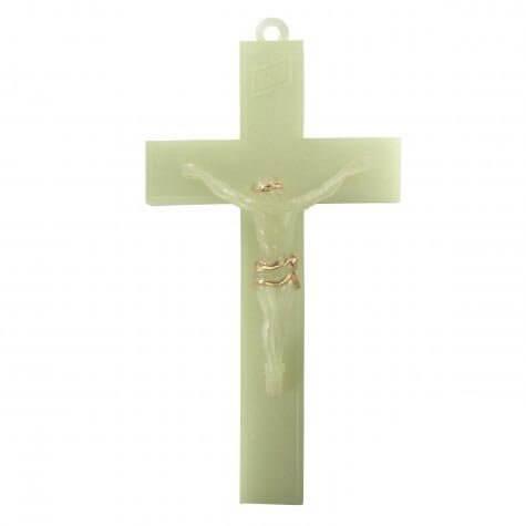 Crucifixo de Parede Luminoso com Cristo Dourado - 22 cm
