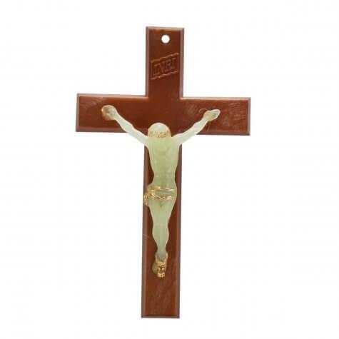 Crucifixo de Parede Marrom com Cristo Luminoso - 15 cm