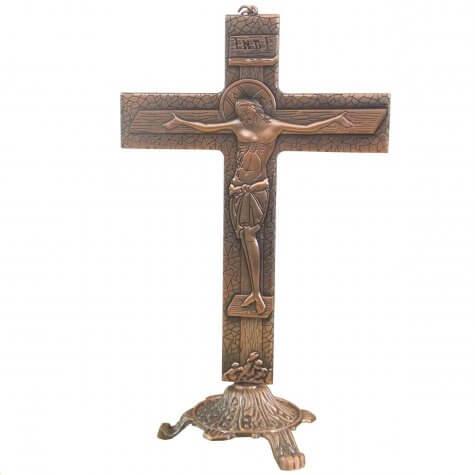 Crucifixo Estilizado em Bronze para Mesa - 25 cm