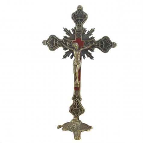 Crucifixo Estilizado Ouro Velho com Vermelho para Mesa - 25 cm