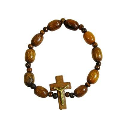 Pulseira de Madeira com Crucifixo | Cor: Vermelha