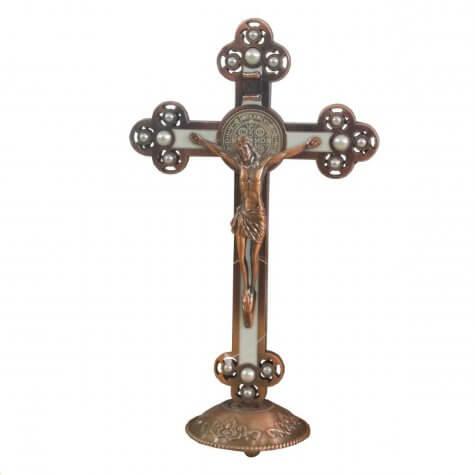 Crucifixo São Bento Bronze com Perola para Mesa - 21 cm