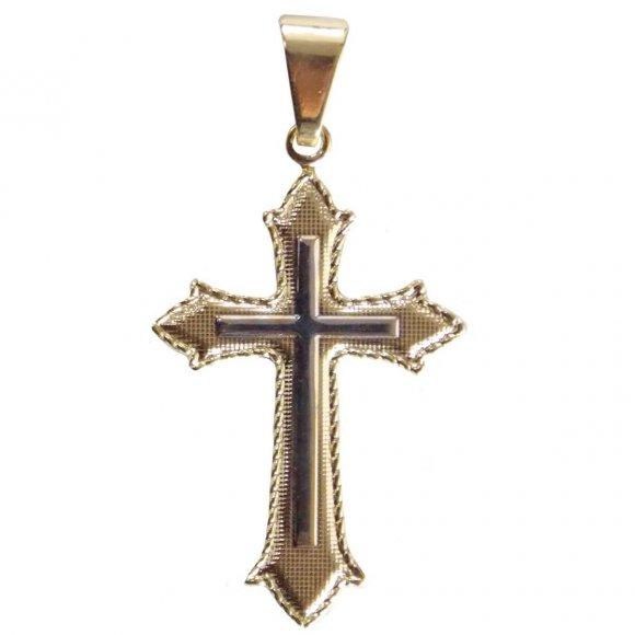 Crucifixo Folheado com Detalhe Prata